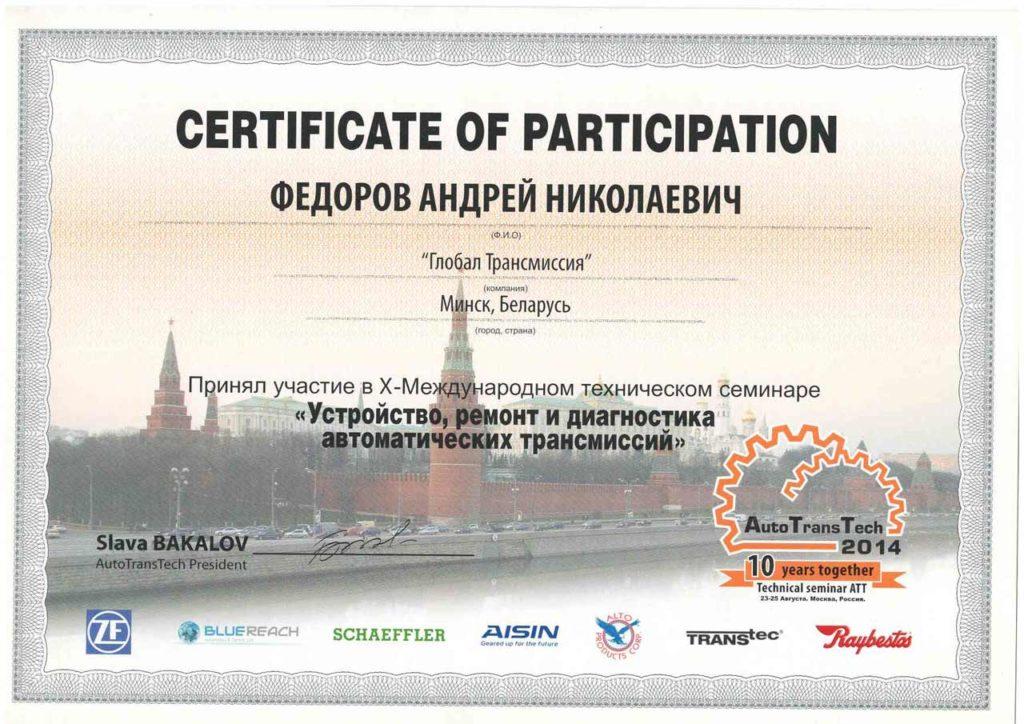 сертификат GlobalTrans.by (Андрей Федоров) 2014